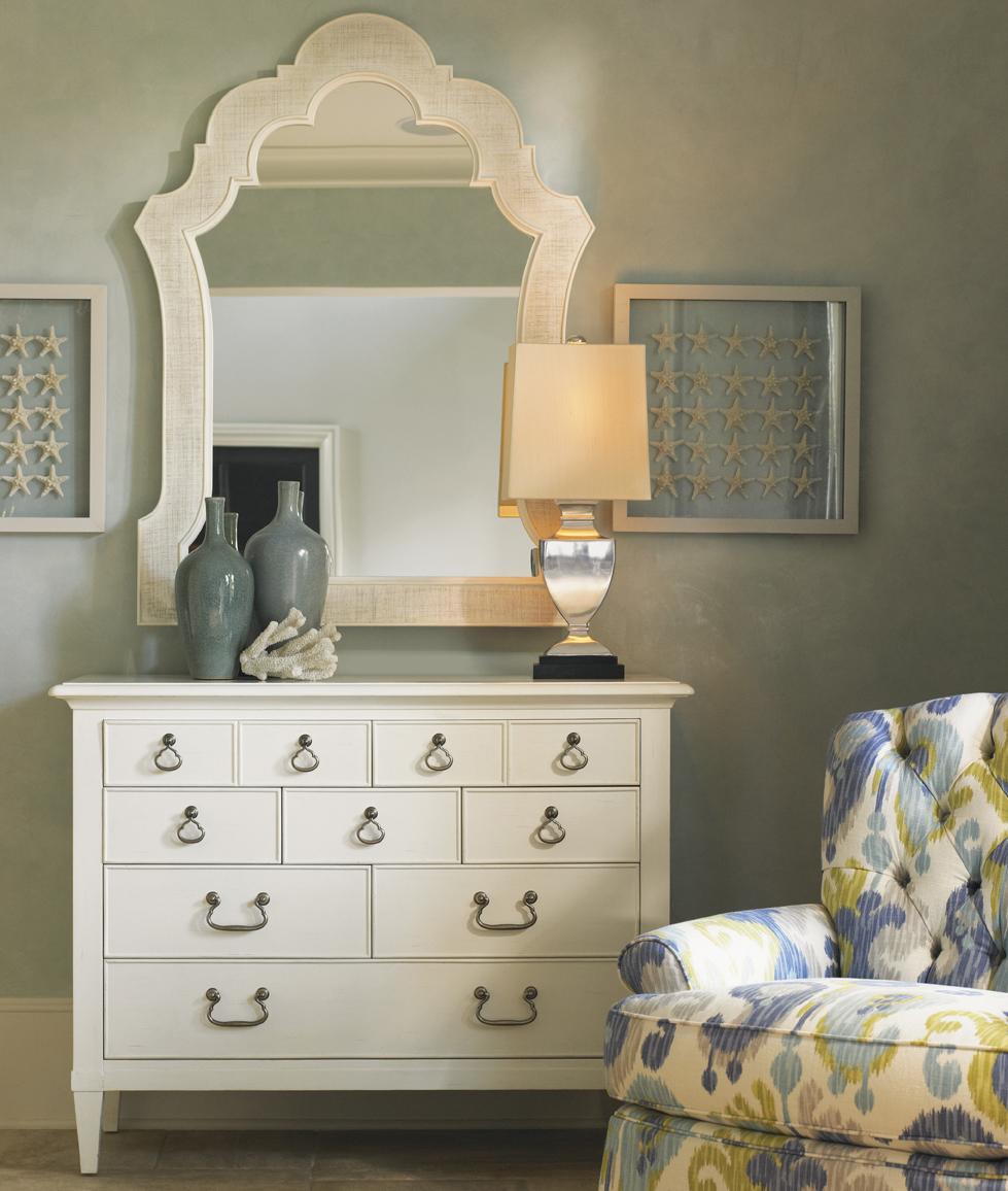 Tommy Bahama Home Ivory Key 8 Drawer Elbow Beach Dresser And Woven Raffia  Sandys Mirror