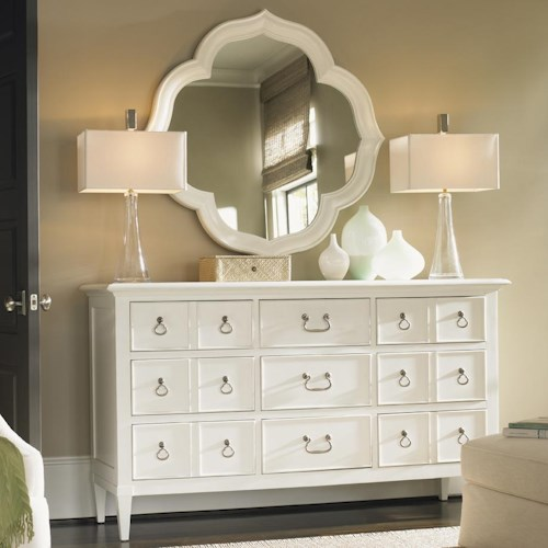 Tommy Bahama Home Ivory Key 9 Drawer Grotto Isle Dresser & Paget Mirror with Quatrefoil Diamond Silhouette