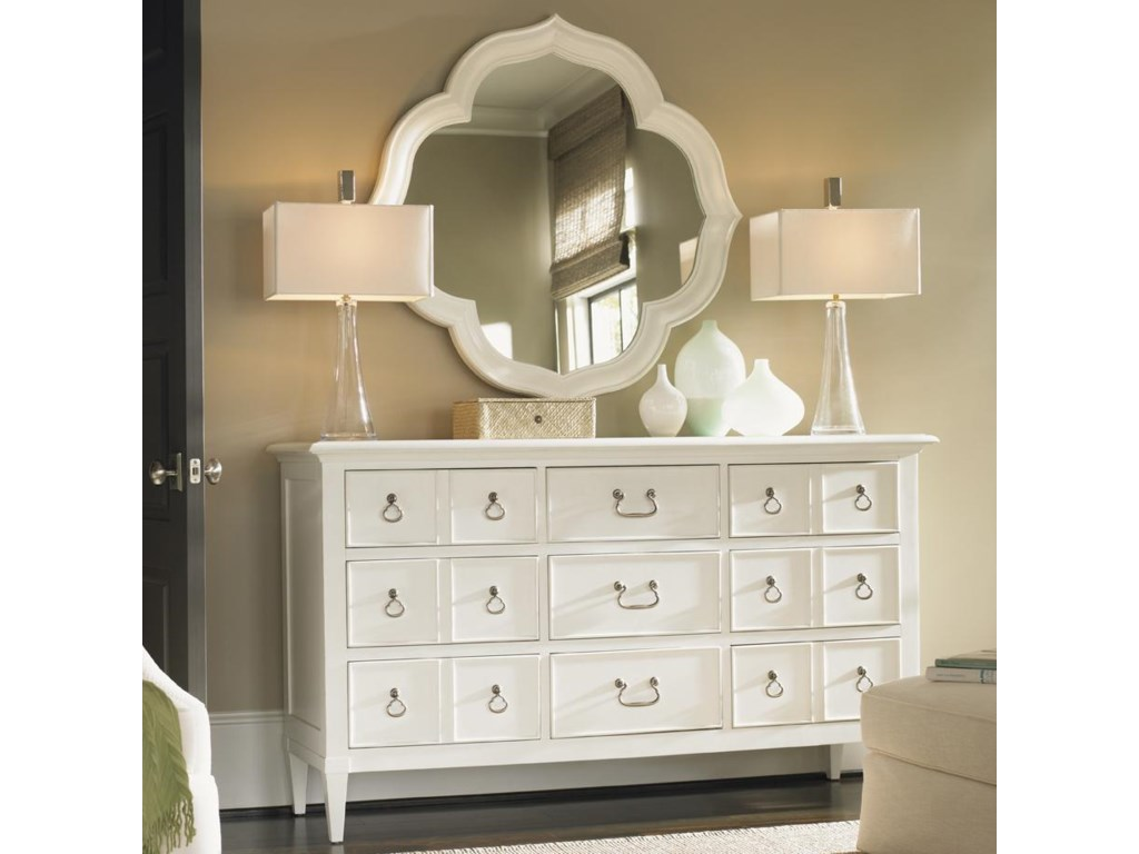 Tommy Bahama Home Ivory KeyGrotto Isle Dresser & Paget Mirror