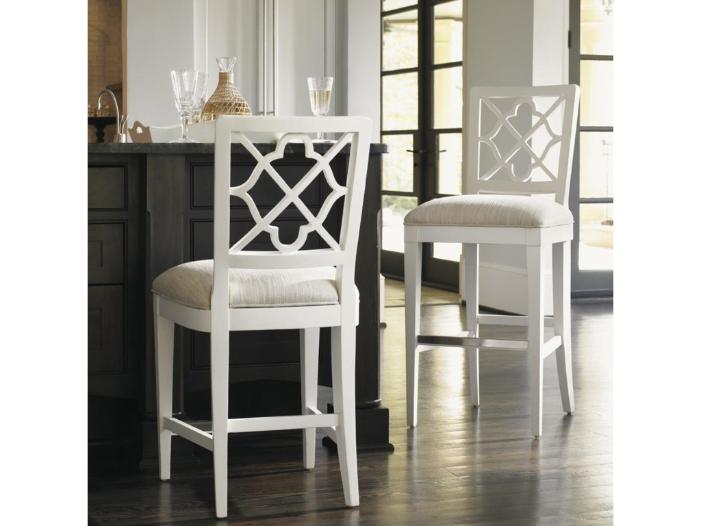 Tommy Bahama Home Ivory Key<b> Customizable </b> Newstead Counter Stool