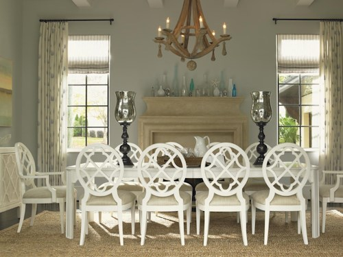 Tommy Bahama Home Ivory Key 11 Piece Rectangular Castel Harbour Dining Table with Mill Creek Dining Chairs with Quatrefoil Diamond Backs
