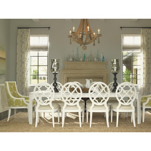 Tommy Bahama Home Ivory Key 11 Piece Rectangular Castel Harbour Dining Table with Mill Creek SideChais & Aqua Bay Arm Chairs