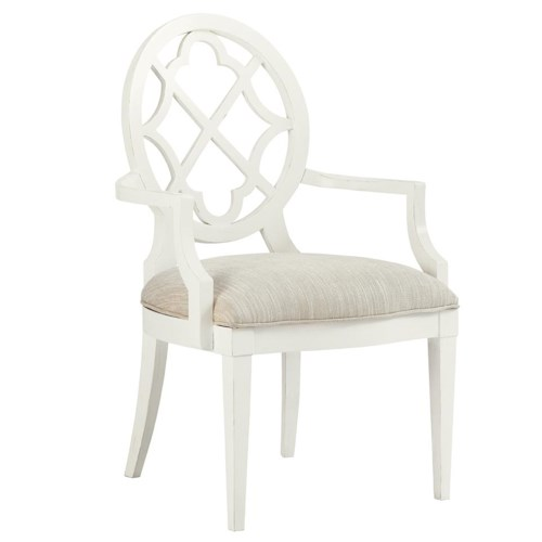 Tommy Bahama Home Ivory Key <b>Quickship </b> Mill Creek Arm Dining Chair with Quatrefoil Diamond Back