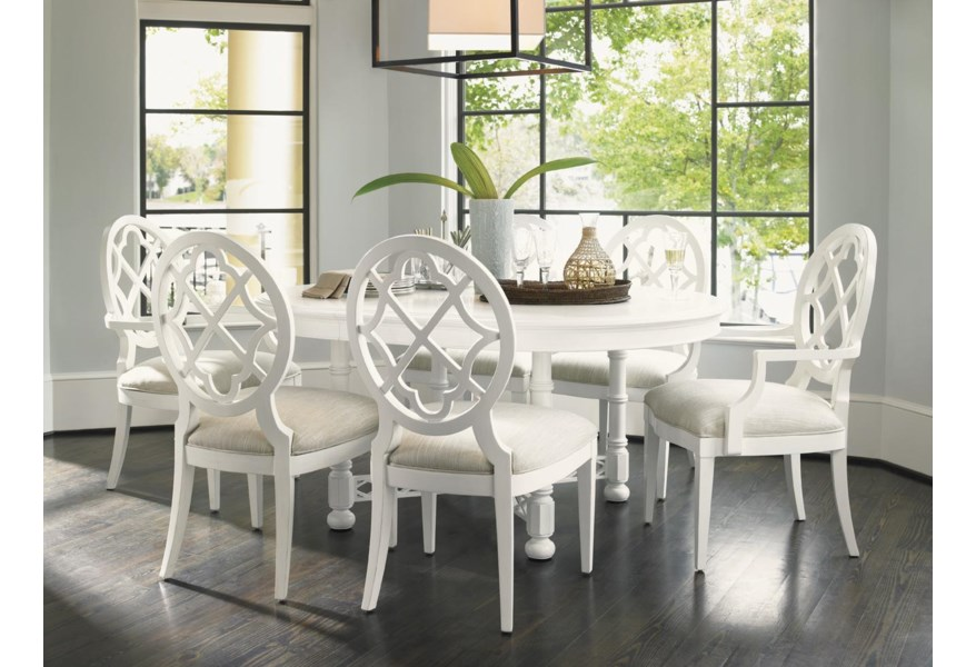 Tommy Bahama Home Ivory Key B Quickship B Mill Creek Arm Dining Chair With Quatrefoil Diamond Back Jacksonville Furniture Mart Dining Arm Chairs