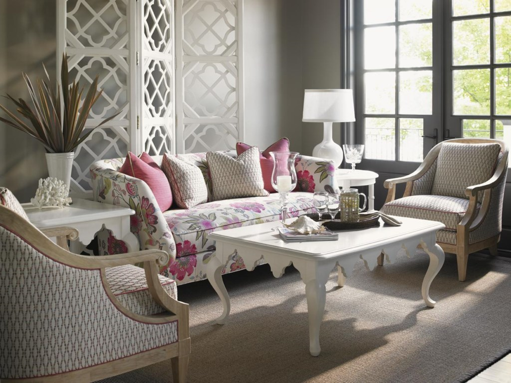Shown with Edgehill Round Lamp Table, Shoal Bay Chair, Cumberland Square Lamp Table, and Swan Island Sofa