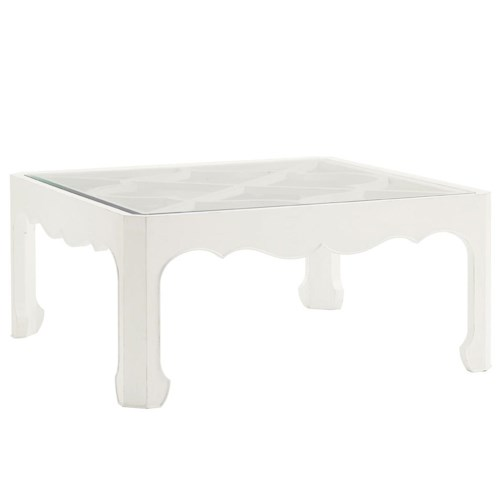 Tommy Bahama Home Ivory Key Cassava Cocktail Table with Glass Insert and Quatrefoil Fretwork