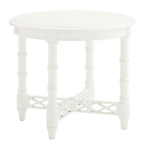 Tommy Bahama Home Ivory Key Edgehill Round Lamp Table with Diamond Lattice Stretcher