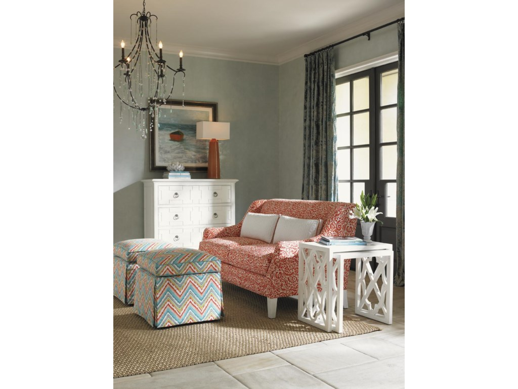 Shown with Half Moon Caye Ottomans, Sofia Love Seat, and Stovell Ferry Nesting Tables