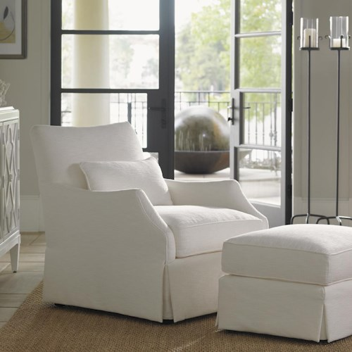 Tommy Bahama Home Ivory Key Crystal Caves Chair & Ottoman with Skirted Base