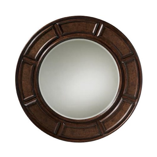 Tommy Bahama Home Kilimanjaro Helena Round Mirror with Hammered Antique Copper Inlay