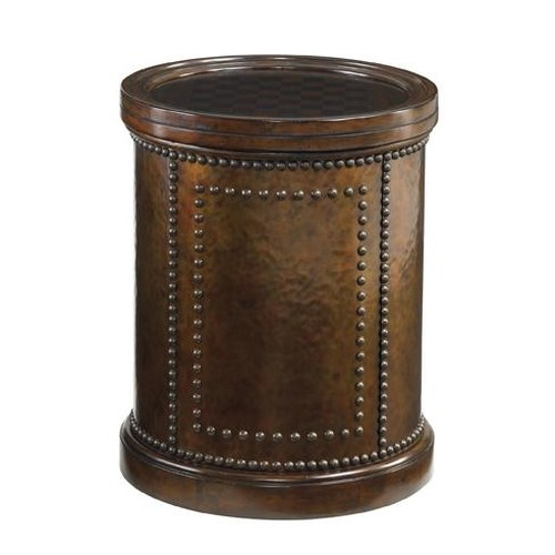 Tommy Bahama Home Kilimanjaro Harcourt Round Side Table with Hammered Copper and Reversible Chessboard Top