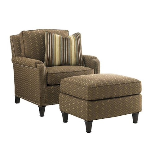 Tommy Bahama Home Kilimanjaro Bishop Chair and Ottoman Set with Padded Arm Caps and Nailhead Trim