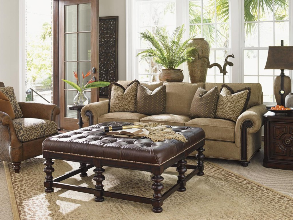Tommy Bahama Home Kilimanjaro Riversdale Sofa with Rolled Exposed Wood  Panel Arms and Button Tuft Detailing - Becker Furniture World - Sofas - Tommy Bahama Home Kilimanjaro Riversdale Sofa With Rolled Exposed
