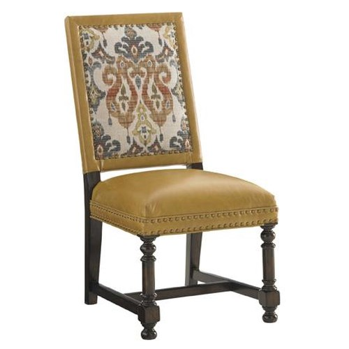 Tommy Bahama Home Kilimanjaro Jacqueline Leather Hostess Dining Side Chair