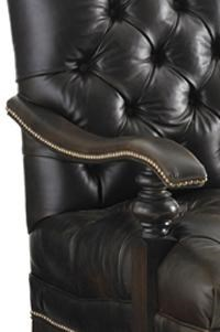Detail of Upholstered Arm and Brass Nailheads Shown. Leather Shown is 9621-71