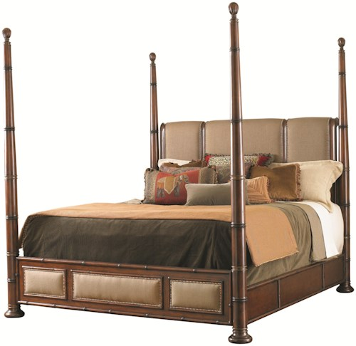 Tommy Bahama Home Landara King Monarch Bay Poster Bed with Upholstered Accents and Brass Nailheads