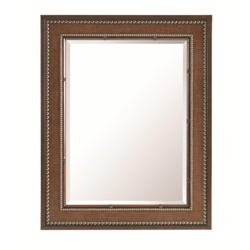 Tommy Bahama Home Landara Baron's Cove Raffia and Rattan Rectangular Mirror with Brass Nailheads
