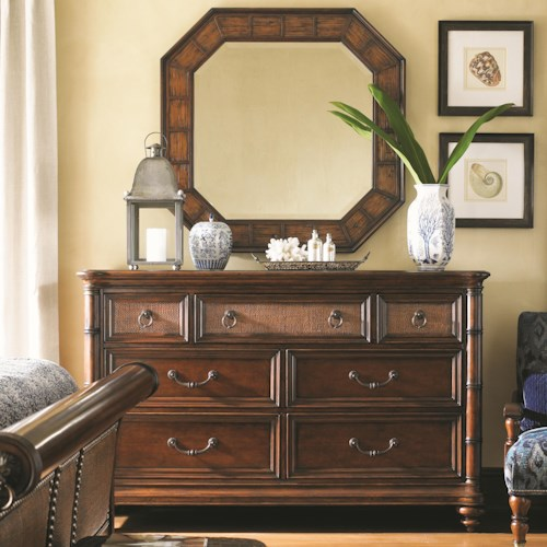 Tommy Bahama Home Landara Sailfish Point Dresser with Media Storage and Cape Coral Crushed Bamboo Mirror