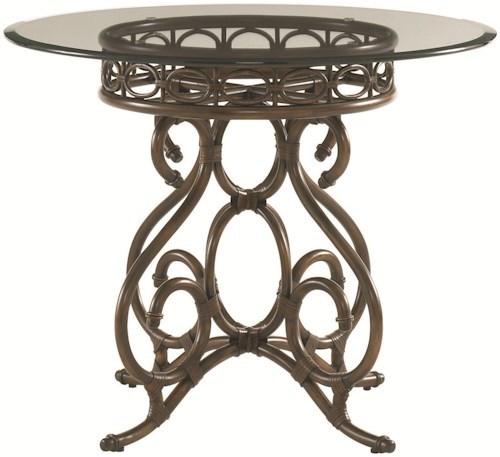 Tommy Bahama Home Landara Capistrano Dining Table with 36 Inch Glass Top