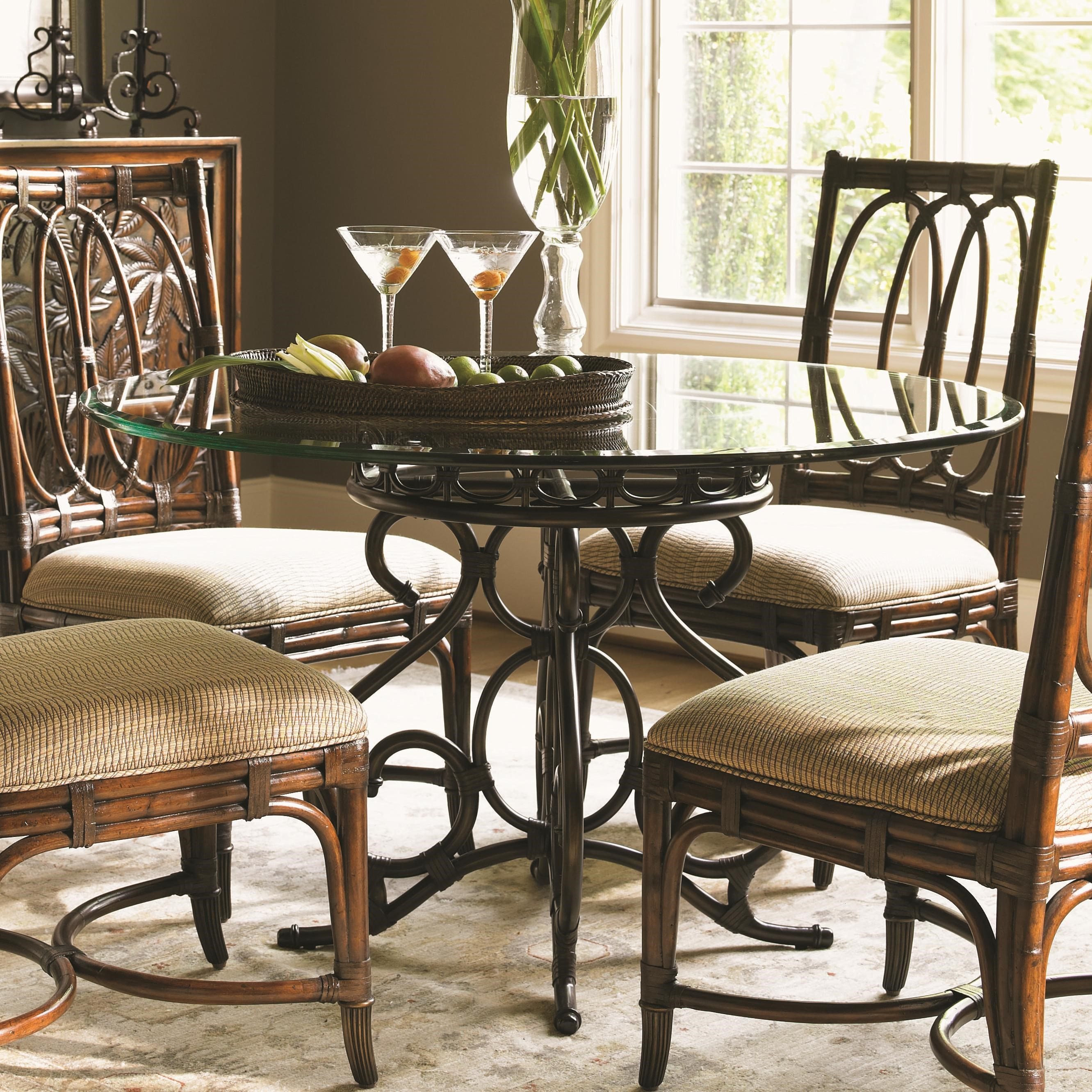 Tommy Bahama Home Landara Capistrano Dining Table With 48 Inch Glass Top    Becker Furniture World   Dining Tables Part 92