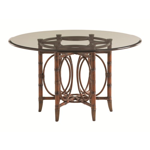 Tommy Bahama Home Landara Coral Sea Rattan Dining Table with 60 Inch Glass Top