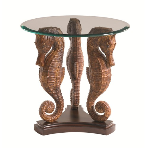 Tommy Bahama Home Landara Sea Horse Lamp Table with Glass Top