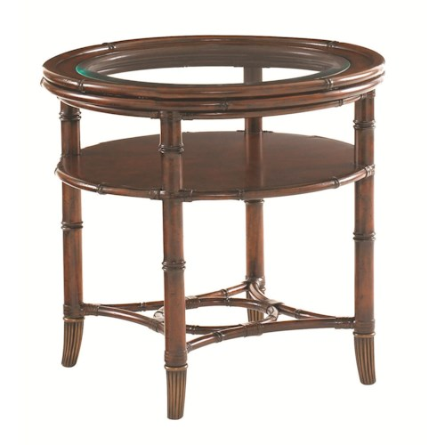 Tommy Bahama Home Landara Maricopa Round Glass-Topped Lamp Table with Bamboo Legs and Rattan Stretcher