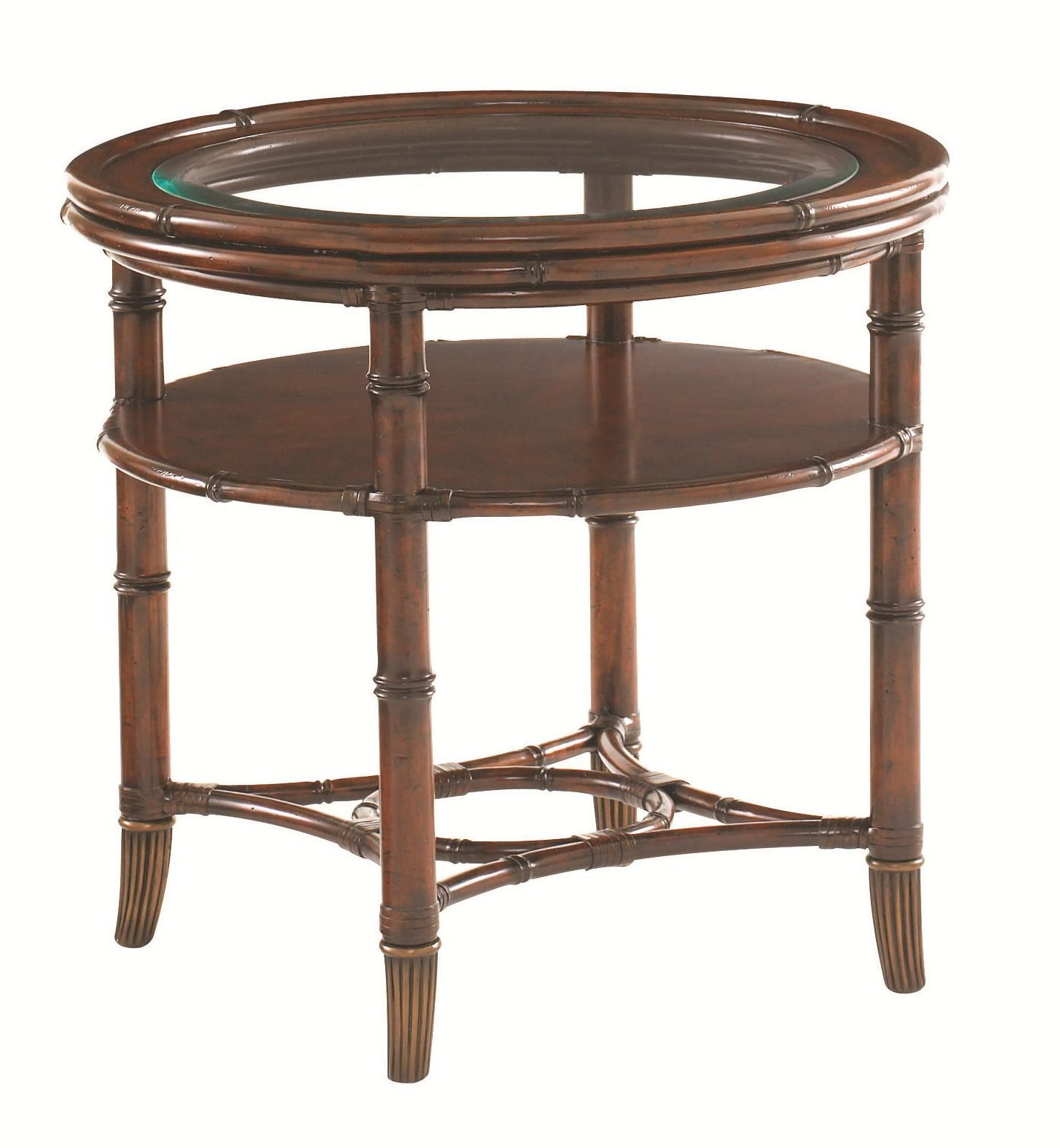 Tommy Bahama Home Landara Maricopa Round Glass Topped Lamp Table With  Bamboo Legs And Rattan