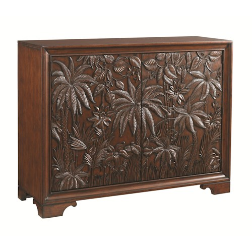 Tommy Bahama Home Landara Balboa Tropical Carved Door Chest with 11 Shelves