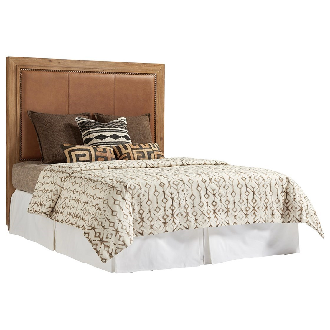 Antilles Queen Size Headboard with Rustic Stitched Leather Insert and Nailheads