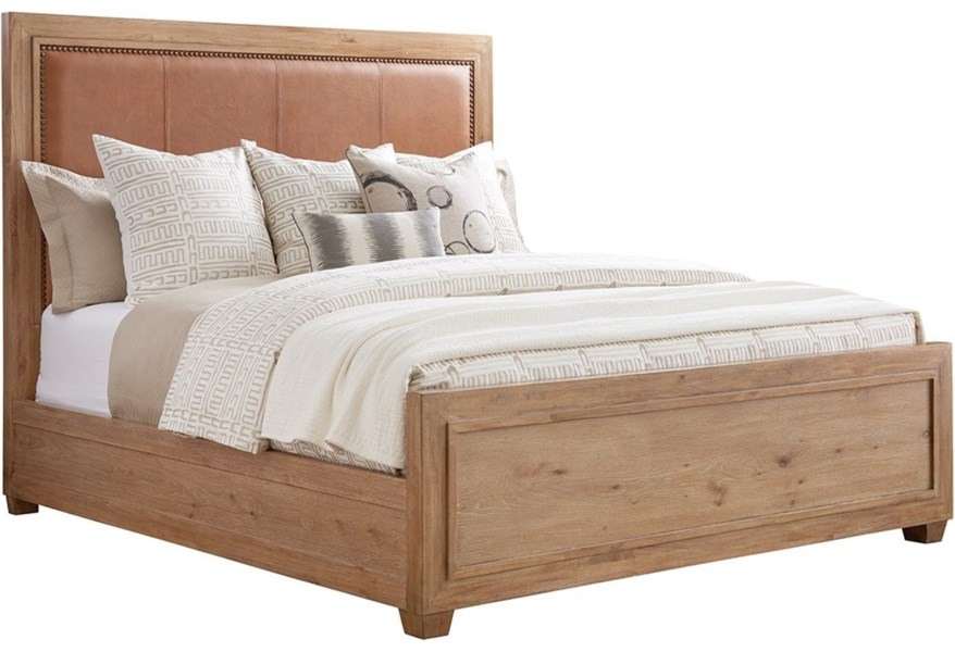 Tommy Bahama Home Los Altos 566 145c Antilles California King Size Bed With Rustic Stitched Leather Headboard And Nailhead Trim Hudson S Furniture Upholstered Beds