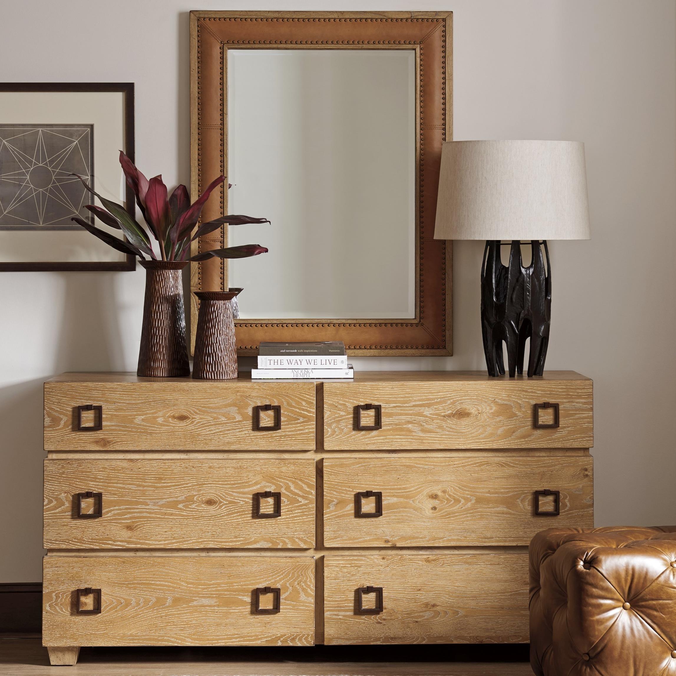 Armiston Double Dresser and Dominica Leather Mirror Set