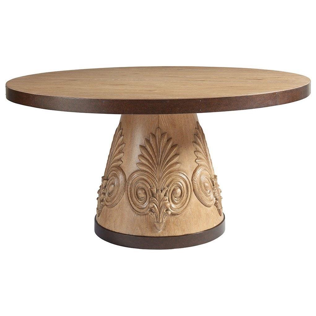 Tommy Bahama Home Los Altos Weston Round Oak Dining Table With Carved  Acanthus And Bronze Trim