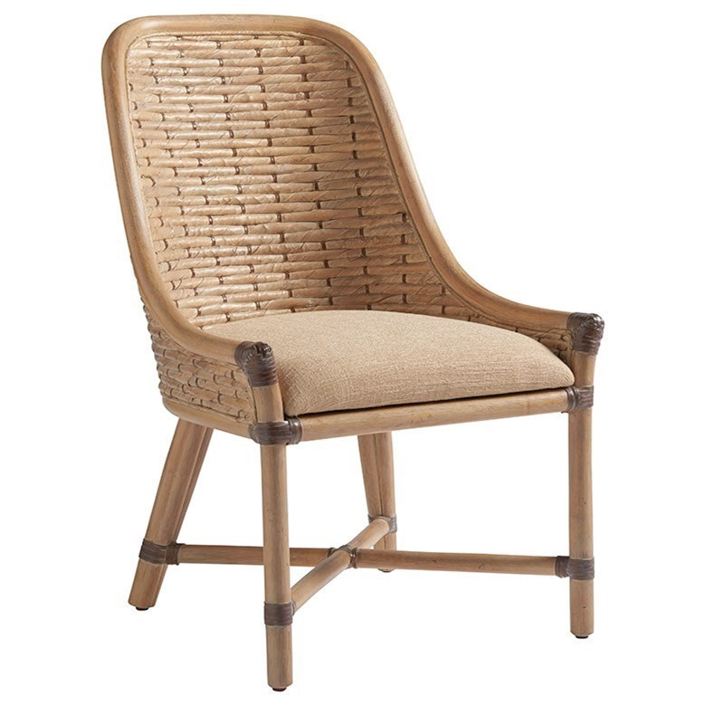 Keeling Woven Banana Leaf Side Chair with Upholstered Cushion in Ellerston Maize Fabric
