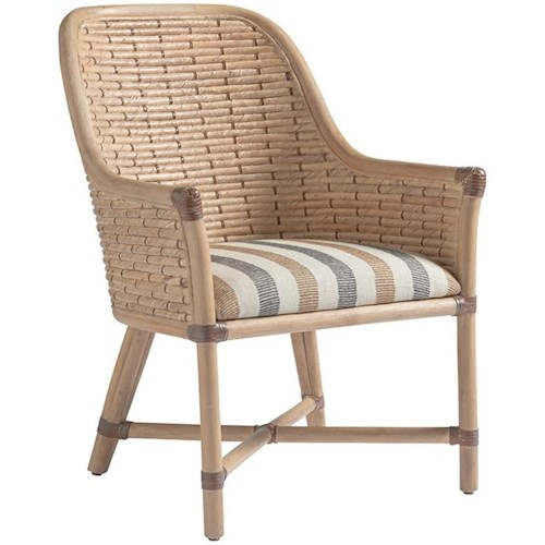 Tommy Bahama Home Los Altos Keeling Woven Banana Leaf Arm Chair With Upholstered Cushion In Custom