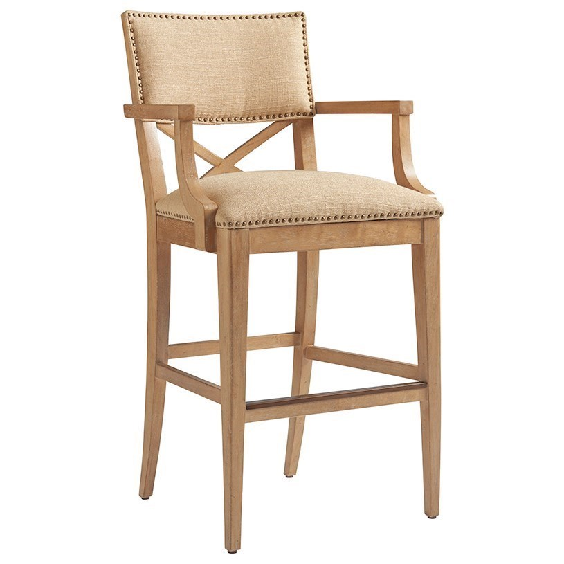 Sutherland Upholstered Bar Stool in Ellerston Maize Fabric