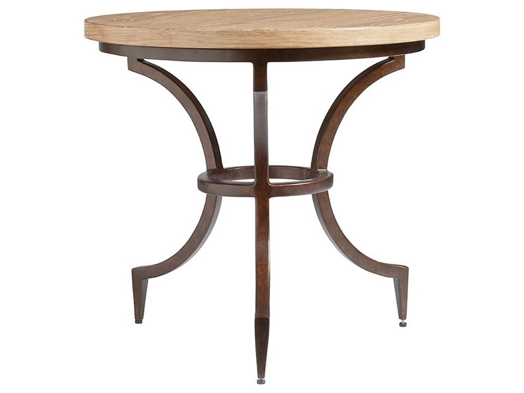 Round Table Los Altos.Los Altos Flemming Round Metal End Table With Wood Top By Tommy Bahama Home At Hudson S Furniture