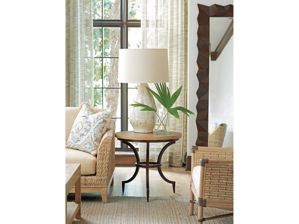 Round Table Los Altos.Los Altos Flemming Round Metal End Table With Wood Top By Tommy Bahama Home At Baer S Furniture