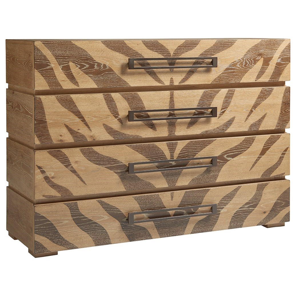 Tangiers Eclectic Animal Print Hall Chest with Four Drawers