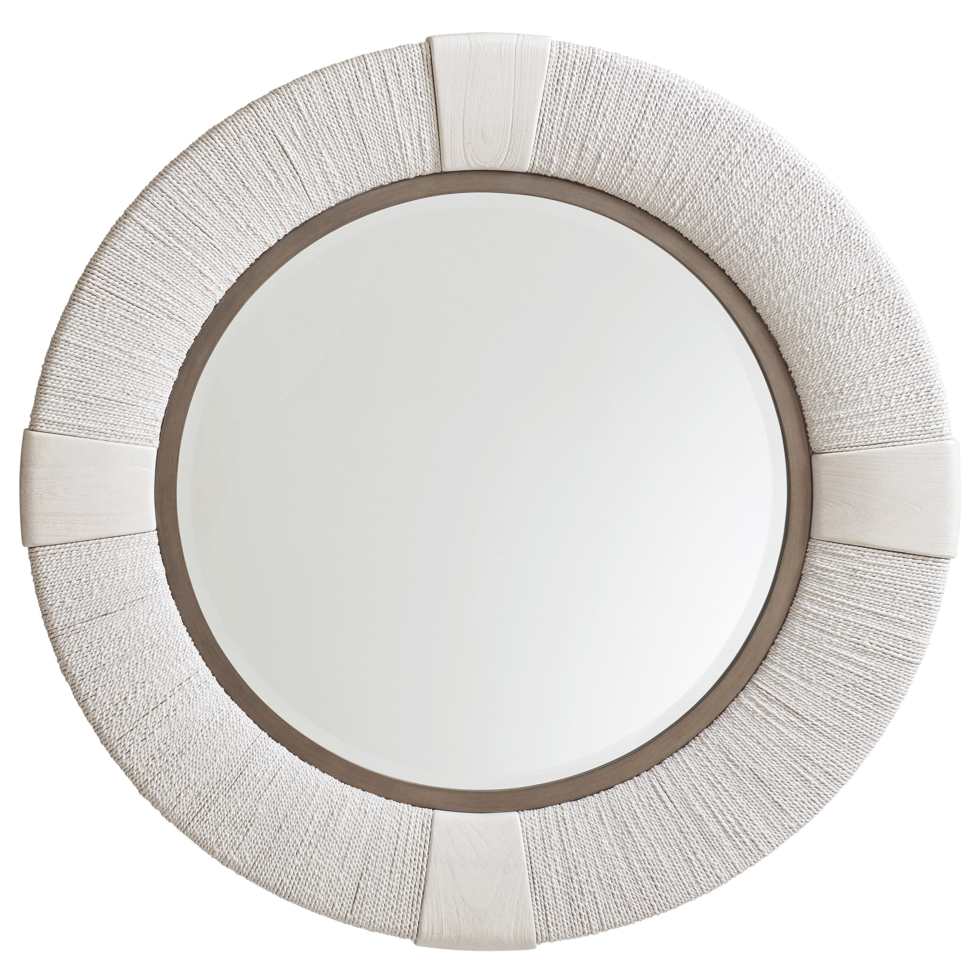 Seacroft Round Coastal Mirror with Wrapped Banana Leaf