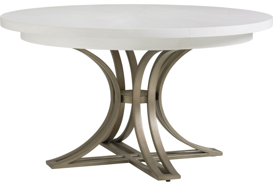 Tommy Bahama Home Ocean Breeze 570 875c Savannah 54 Inch Round Dining Table With Metal Base Baer S Furniture Dining Tables