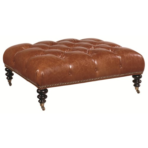 Tommy Bahama Home Kingstown Victoria Traditional Styled Cocktail Ottoman with Tufted Seat