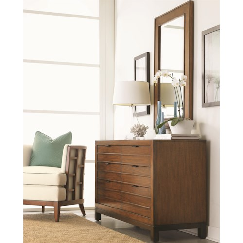 Tommy Bahama Home Ocean Club Six-Drawer Palm Bay Dresser & Beveled Somerset Mirror Combination