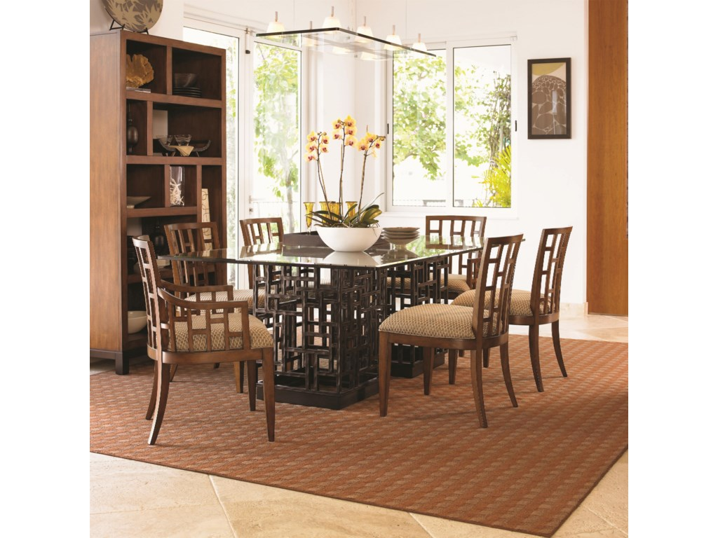 Shown with Lanai Arm Chair, South Sea Rectangular Glass Top Table, and Tradewinds Bookcase/Etegere