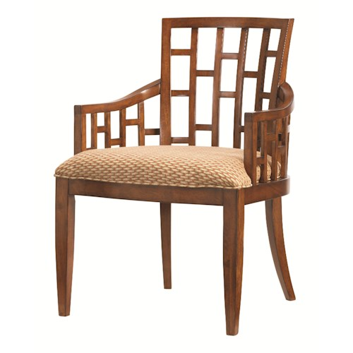 Tommy Bahama Home Ocean Club <b>Quick Ship</b> Lanai Arm Chair with Geometric Pattern