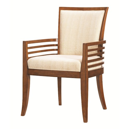 Tommy Bahama Home Ocean Club <b>Quick Ship</b> Kowloon Arm Chair with Horizontal Slats