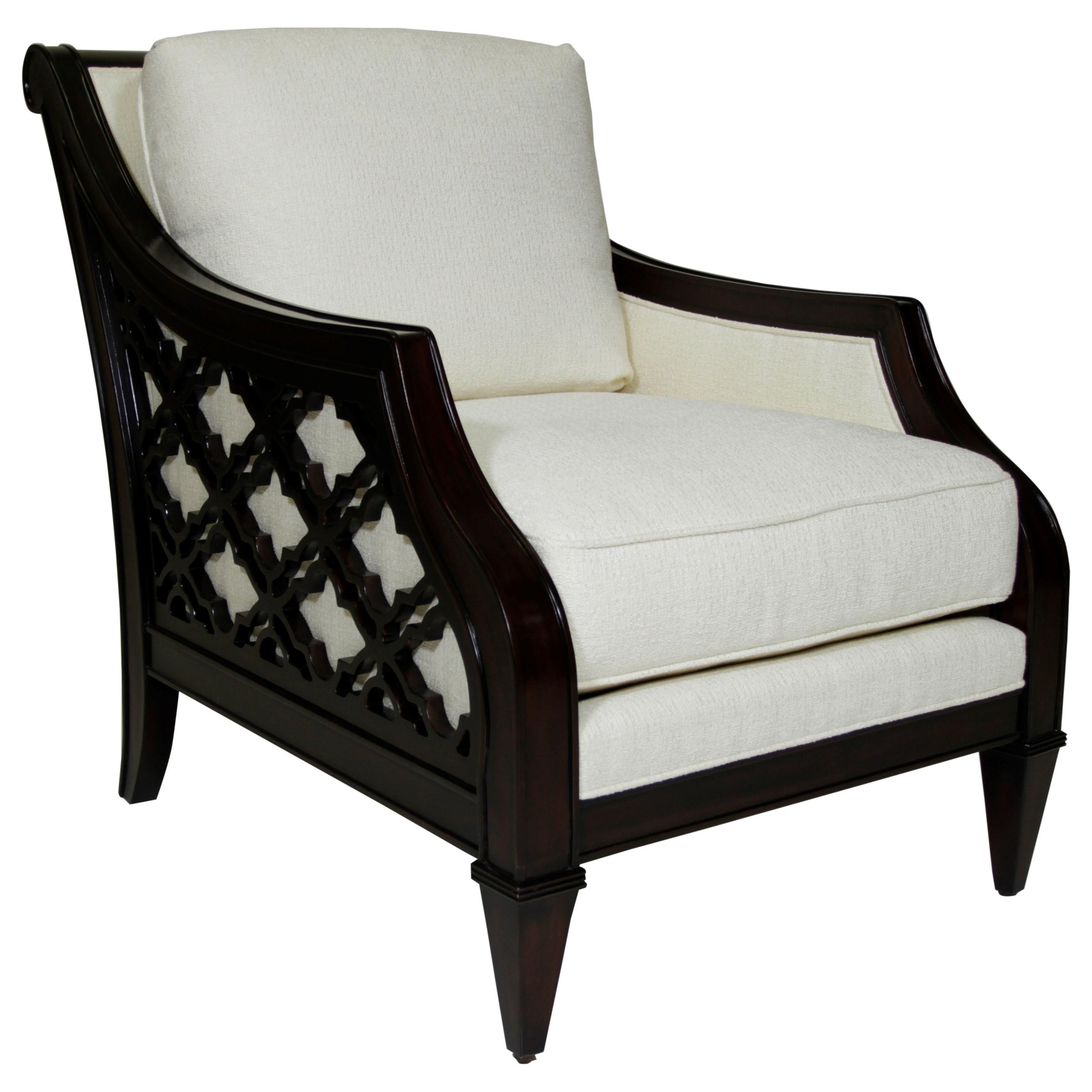 Tommy Bahama Home Royal Kahala Bay Club Chair With Quatrefoil Design Sides
