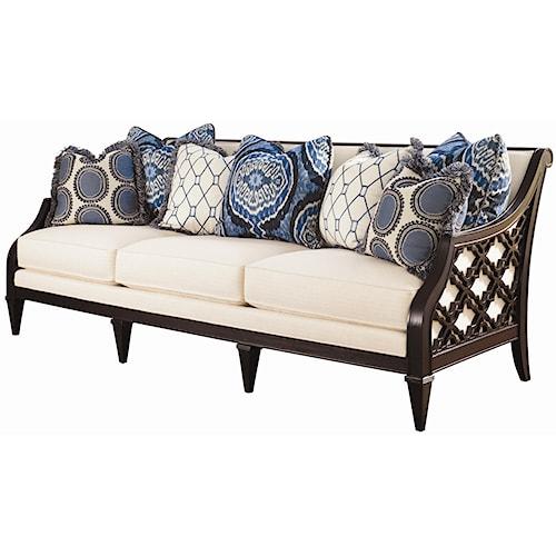 Tommy Bahama Home Royal Kahala Bay Club Exposed Wood Sofa with Quatrefoil Design