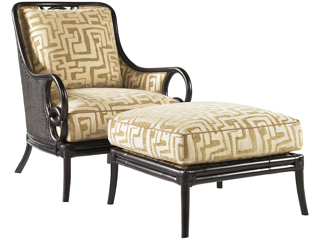 Tommy Bahama Home Royal KahalaSumatra Chair & Ottoman