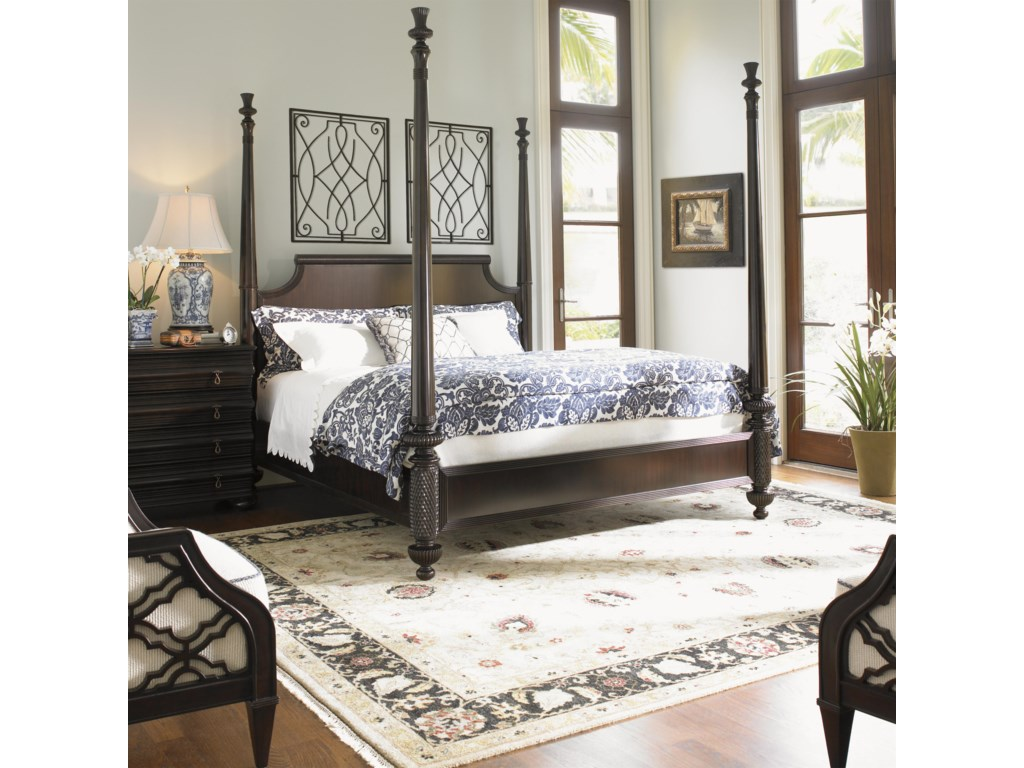 Shown with High Post Option with Black Sands Night Chest and Bay Club Chairs - Bed Shown May Not Represent Size Indicated